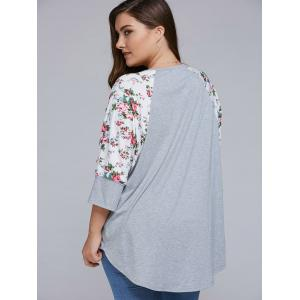Plus Size Floral Sleeve High Low Blouse -