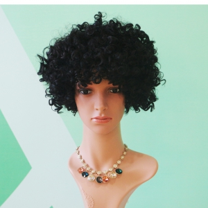 Short Full Bang Afro Curly Black Prevailing Synthetic Hair Wig - BLACK