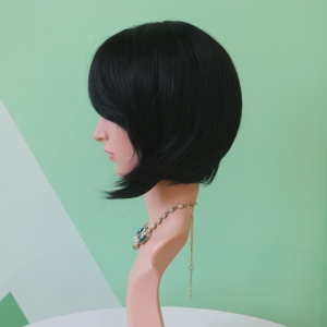 Short Fluffy Straight Black Side Parting Faddish Synthetic Hair Wig -