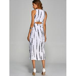 Jewel Neck Tie-Dyed Back Cut Out Bodycon Midi Dress - WHITE M