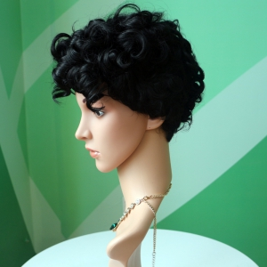 Short Black Fluffy Curly Side Parting Fashion Synthetic Wig -