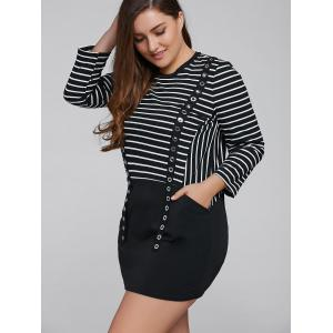 Striped Long Sleeve Casual Cotton Dress -