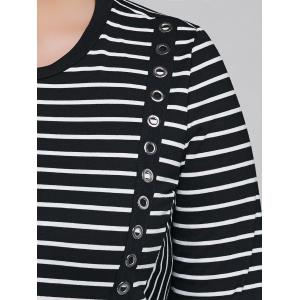 Striped Long Sleeve Casual Cotton Dress - BLACK 5XL