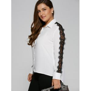 Lace Insert Sleeve High Low Blouse -
