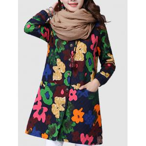 Button Up Floral Padded Coat -