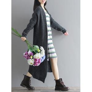 Loose Textured Knitted Duster Cardigan -
