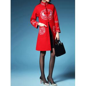 Embroidered Walker Coat with Frog Button -