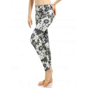 Abstract Printed Stretchy Gym Pants - GRAY L