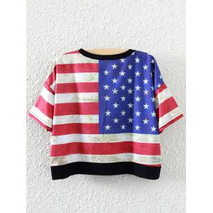 Stripes and Stars Cropped T-Shirt - RED ONE SIZE
