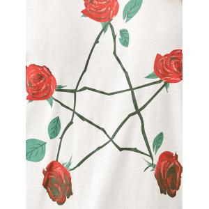 Drop Shoulder Rose Print Sweatshirt -