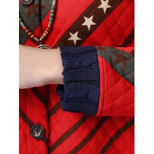 Button Up Printed Quilted Coat - RED 2XL