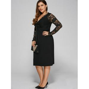 Plus Size Twist Front Formal Dress with Lace Sleeves - BLACK 4XL