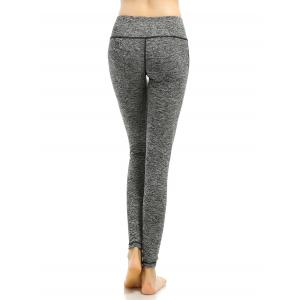 Heathered Mesh-Insert Stretchy Slimming Pants - GRAY L
