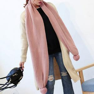 Winter Faux Fur Ball Knitted Long Scarf - LIGHT PINK