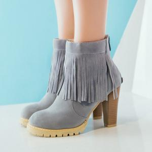 Back Zip Chunky Heel Fringe Ankle Boots - GRAY 39