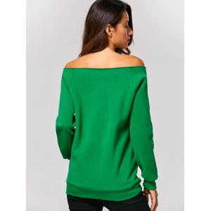 Off The Shoulder Letter Printed Christmas Sweatshirt - GREEN XL