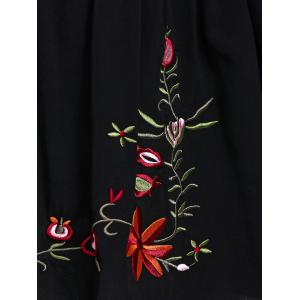 Plus Size 3/4 Sleeve V Neck Embroidered T-Shirt - BLACK 5XL