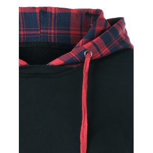 Arc-Shaped Hem Plaid Hoodie - CHECKED XL
