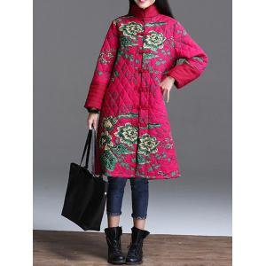 Stand Collar Printed Quilted Coat -