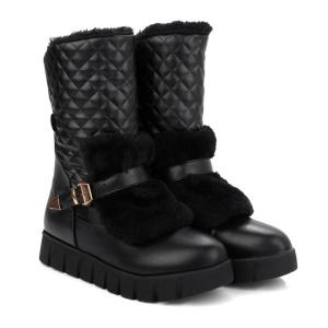 Buckle Strap Argyle Pattern Snow Boots -
