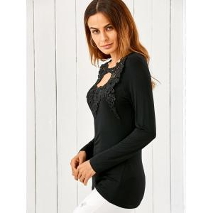 Lace Splicing Keyhole Fitted Long Sleeve T-Shirt - BLACK M