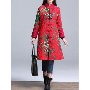 Stand Collar Printed Padded Coat - RED 3XL