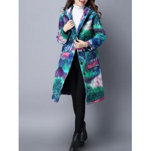 Tie Dyed Hooded Padded Coat -