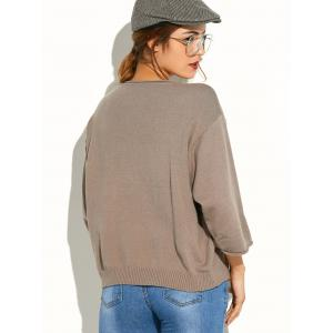Pocket Knitted Pullover Sweater - KHAKI ONE SIZE