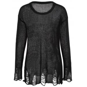 Halloween Frayed Bone Pattern Knitwear - BLACK XL
