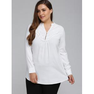 Plus Size Long Sleeve Lace Spliced Crochet Tops - WHITE 5XL