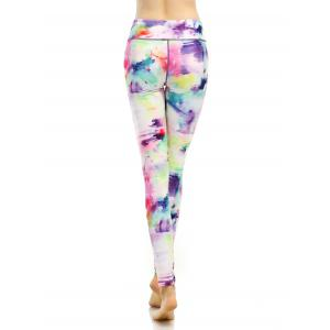 Breathable Stretchy Multicolor Printed Leggings - COLORFUL L