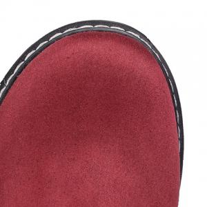 Faux Leather Insert Suede Flat Shoes - WINE RED 39