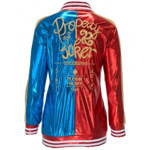 Metallic Embroidery Faux Leather Jacket with Briefs -