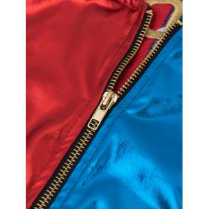 Metallic Embroidery Faux Leather Jacket with Briefs - BLUE/RED 2XL