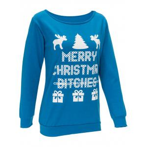 Letter Print Christmas Sweatshirt - LAKE BLUE L