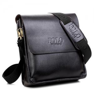 Faux Leather Messenger Bag - BLACK