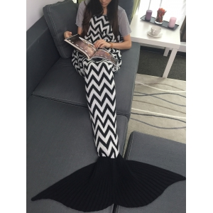 Wave Stripes Jacquard Knitting Mermaid Tail Blanket -