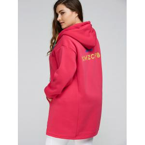 Plus Size Thick Zip Up Long Hoodie Coat - ROSE RED 4XL