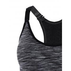Cut Out Padded Strappy Racerback Sports Bra - GRAY S