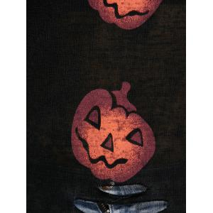 Halloween Pumpkin Cute Plus Size Sweaters - BLACK 4XL