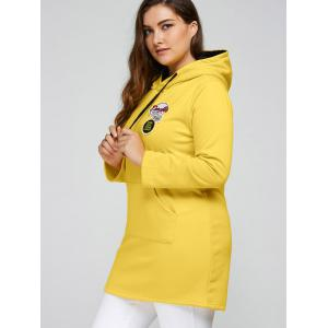 Plus Size Badge Pocket Splice Long Hoodie - YELLOW 4XL
