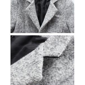 Front Pocket Single-Breasted Lapel Coat - DEEP GRAY L