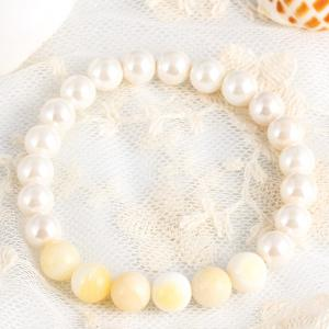 Natural Stone Faux Pearl Beaded Bracelet - WHITE