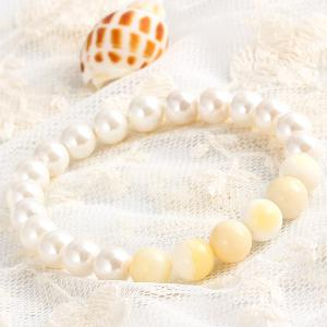 Natural Stone Faux Pearl Beaded Bracelet -