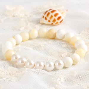 Natural Stone Faux Pearl Beads Bracelet - WHITE