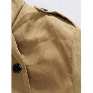 Plush Inside Snap Button Zip Up Hooded Coat For Men - ARMY GREEN XL