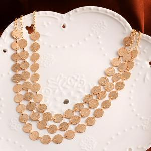 Alloy Disc Circle Sequins Layered Necklace -
