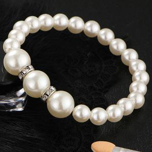 Faux Pearl Beaded Necklace Bracelet and Earrings -