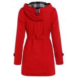 Hooded Double Breasted Belted Long Trench Coat - RED 2XL