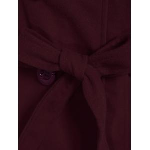Hooded Double Breasted Belted Long Trench Coat - WINE RED 2XL